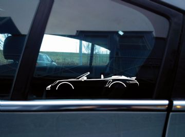 2x sports Car Silhouette stickers - Porsche 911 Turbo Cabriolet ( 992 ) | convertible